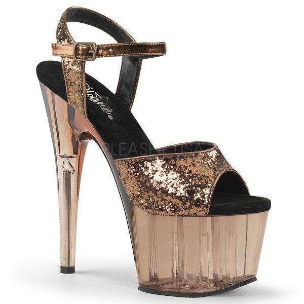 High Heel Glitter Sandalette bronzefarben mit passend getöntem Plateau ADORE-710GT